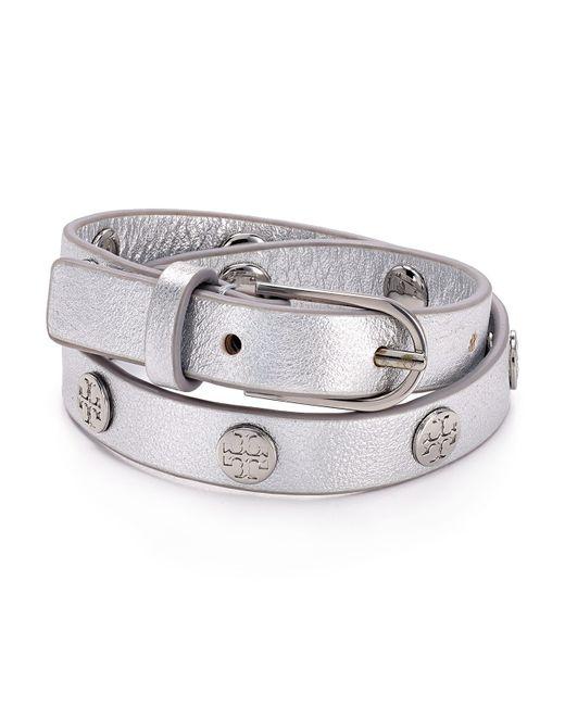 Tory Burch   Metallic Double Wrap Logo Stud Bracelet   Lyst