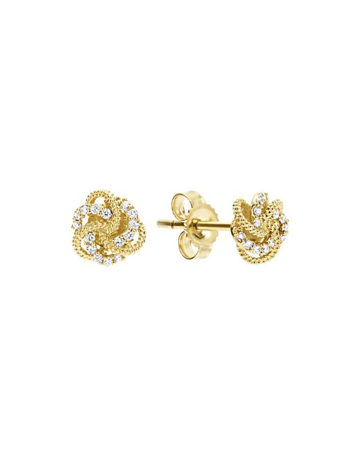 Lagos   White 18k Yellow Gold Love Knot Stud Earrings With Diamonds   Lyst