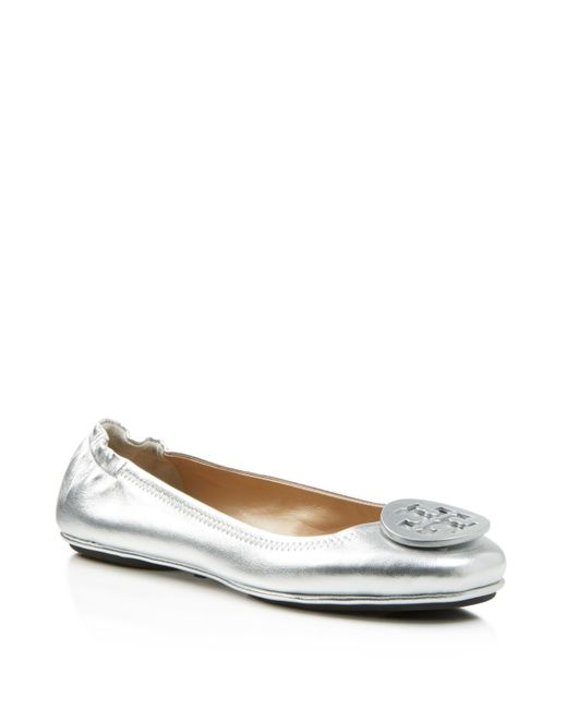 Tory Burch | Metallic Minnie Leather Ballet Flats | Lyst