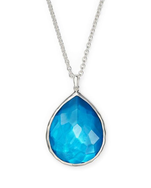 "Ippolita | Blue Sterling Silver Wonderland Teardrop Pendant Necklace In Ice, 16"" | Lyst"