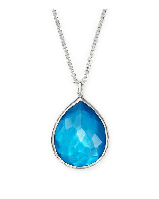 "Ippolita | Metallic Sterling Silver Wonderland Teardrop Pendant Necklace In Ice, 16"" | Lyst"