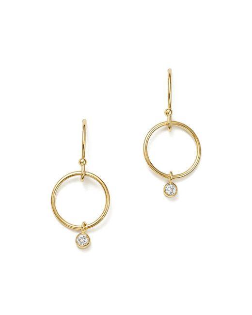 Zoe Chicco - Metallic 14k Yellow Gold Circle & Diamond Bezel Drop Earrings - Lyst