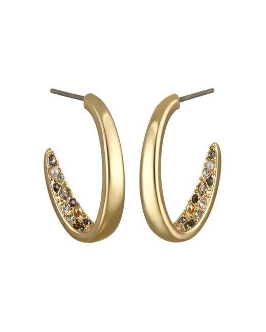 Karl Lagerfeld Metallic Crystal Hoop Earrings