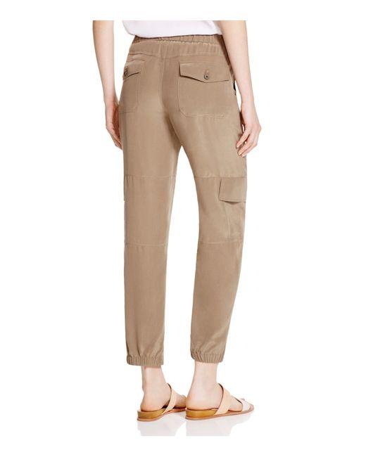 Theory Hamtana Silk Cargo Pants in Green (Moss)