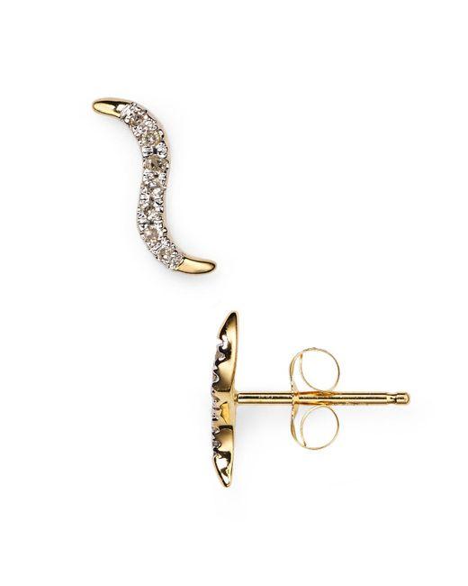 Adina Reyter   Metallic Pavé Wave Stud Earrings   Lyst