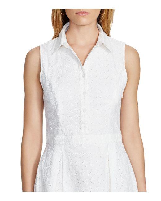 Pink pony lauren cotton eyelet shirt dress in white save for Mens eyelet collar dress shirts