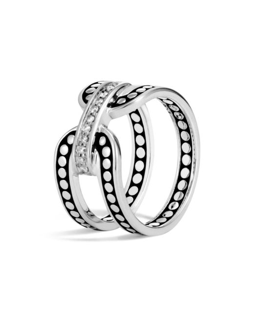 John Hardy - Metallic Sterling Silver Dot Band Ring With Pavé Diamonds - Lyst