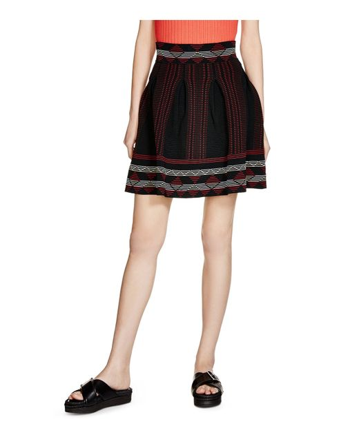 maje jordy pleated jacquard skirt in black save 40 lyst