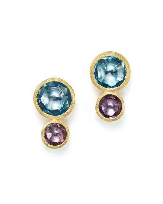 Marco Bicego   Metallic 18k Yellow Gold Jaipur Two Stone Earrings With Blue Topaz And Amethyst   Lyst