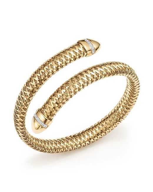 Roberto Coin | Metallic 18k Yellow And White Gold Primavera Flex Cuff Bracelet With Diamonds | Lyst