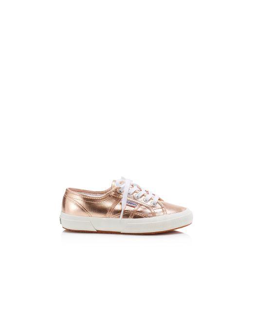 superga cotmetu metallic lace up sneakers in pink rose gold lyst. Black Bedroom Furniture Sets. Home Design Ideas