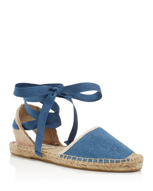 Soludos Classic Ankle Tie Espadrille Sandals In Blue