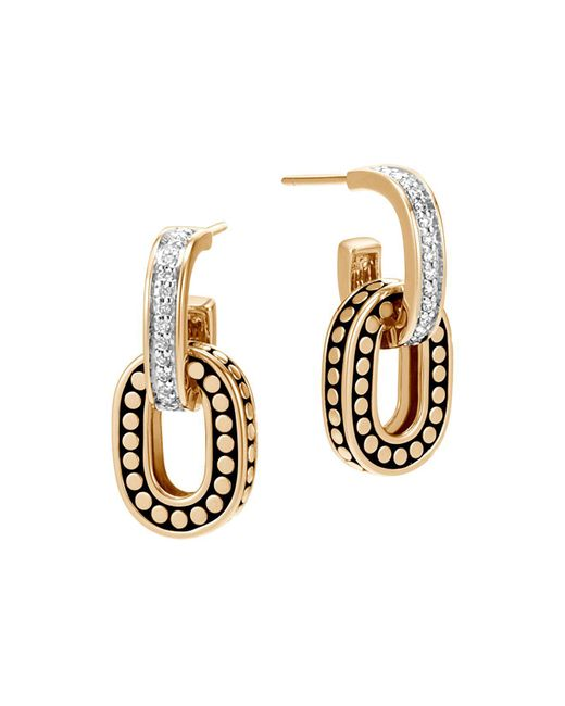 John Hardy   Metallic 18k Yellow Gold Dot Diamond Small Drop Earrings   Lyst
