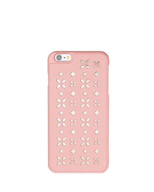 Michael michael kors perforated iphone 6 plus case in pink for Housse iphone 6 michael kors