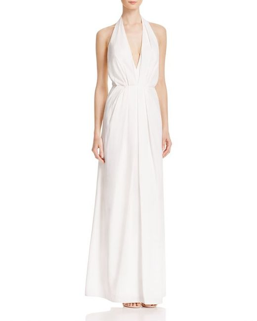 JILL Jill Stuart | White V Neck Pleated Gown | Lyst