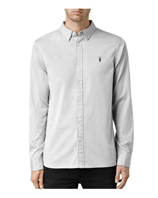 Allsaints redondo slim fit button down shirt in white for for Slim fit white button down shirt