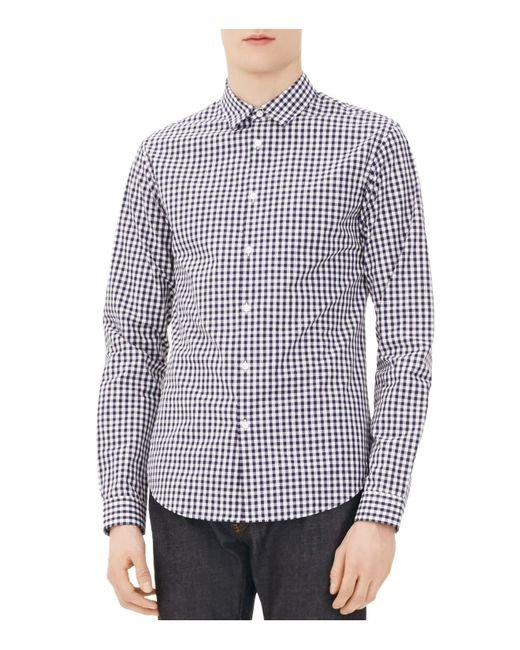 Sandro vichy gingham classic fit button down shirt in blue for Blue gingham button down shirt