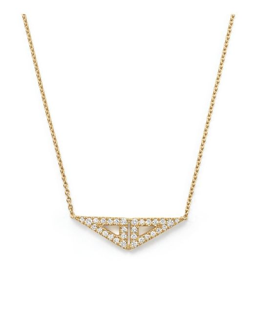 Dana Rebecca | Metallic 14k Yellow Gold Double Triangle Necklace With Diamonds, 16"
