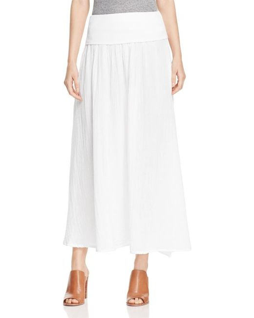 three dots cotton gauze maxi skirt in white lyst