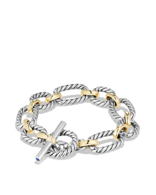 David Yurman | Metallic Cushion Chain Link Bracelet With Blue Sapphires And 18k Gold | Lyst