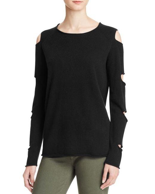 Aqua | Black Cashmere Slashed Arm Cashmere Sweater | Lyst