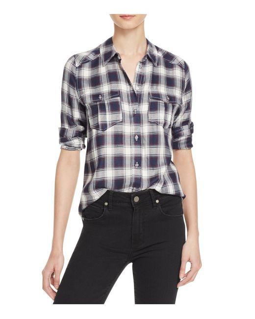 PAIGE | Blue 'mya' Plaid Shirt | Lyst