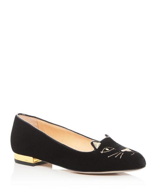 Charlotte Olympia | Black - 'kitty' Ballerinas - Women - Leather/velvet/rubber - 37 | Lyst