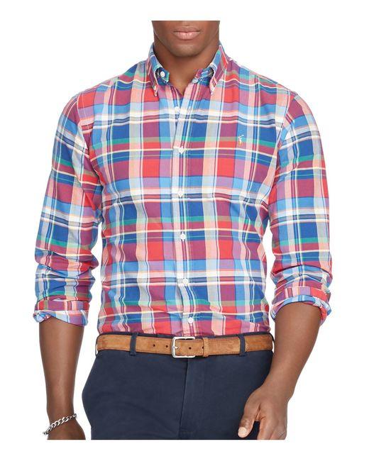 Polo Ralph Lauren | Blue Plaid Cotton Oxford Classic Fit Button-down Shirt for Men | Lyst