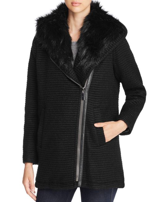 Vince Camuto | Black Stripe Wrap Hooded Coat | Lyst