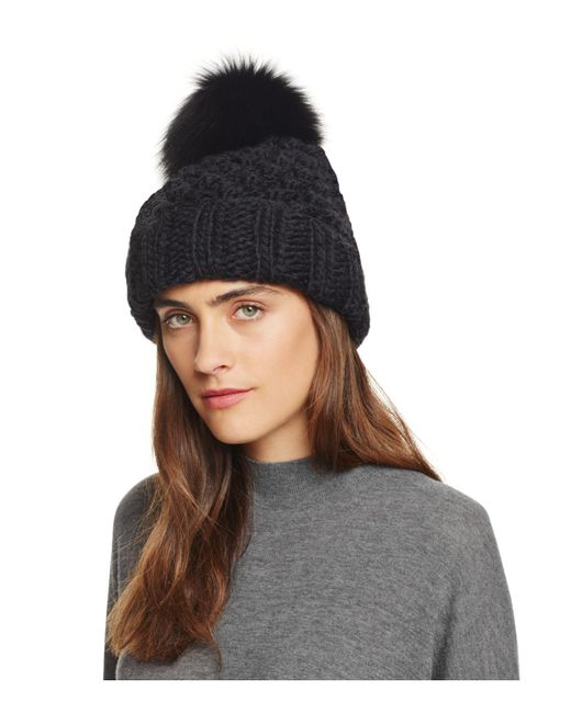 Kyi Kyi | Black Popcorn Cuff Slouchy Hat With Fox Fur Pom-pom | Lyst