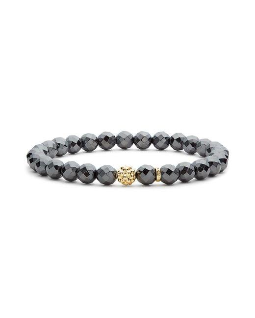 Lagos | Metallic Caviar Icon Hematite Bracelet With 18k Gold Caviar Station | Lyst