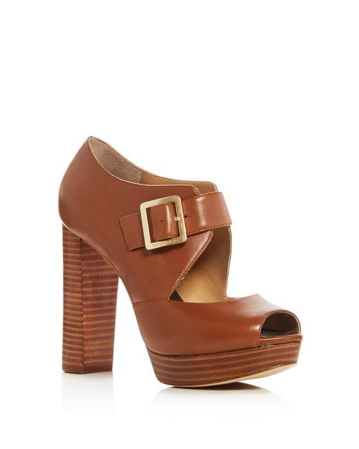 MICHAEL Michael Kors | Brown Eleni Peep Toe Platform Sandals | Lyst