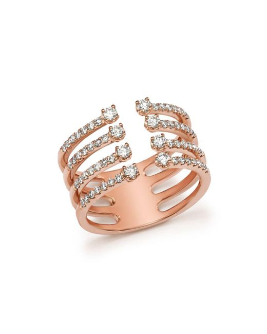 Bloomingdale's - Metallic Diamond Four Row Open Ring In 14k Rose Gold, .65 Ct. T.w. - Lyst