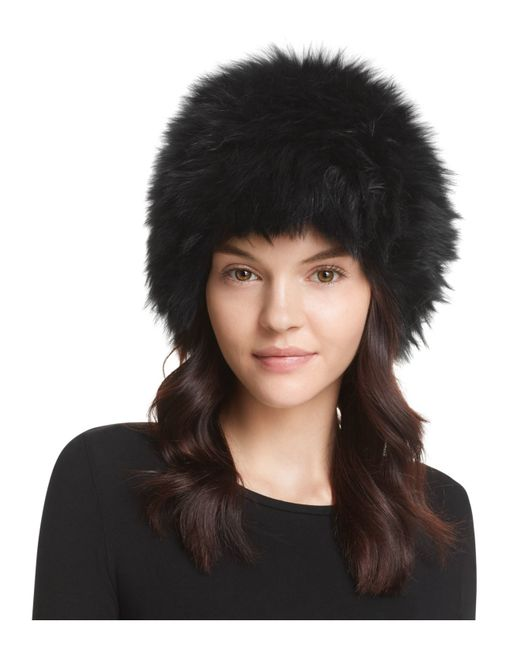 Surell | Black Fox Fur Knit Bubble Hat | Lyst