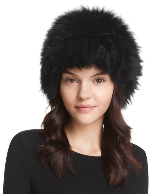 Surell | Black Fox Fur Knit Bubble Hat | Lyst