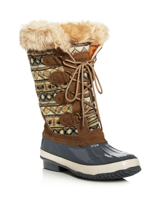 Khombu   Brown Andie Quilted Cold Weather Boots   Lyst