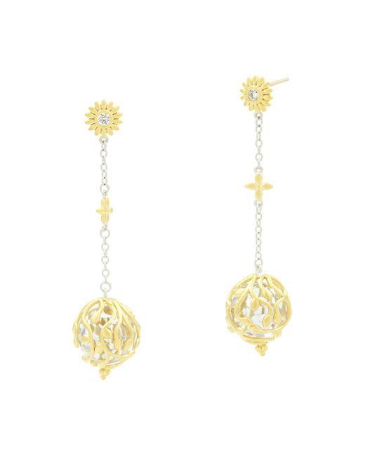 Freida Rothman - Metallic Fleur Bloom Linear Ball Drop Earrings - Lyst