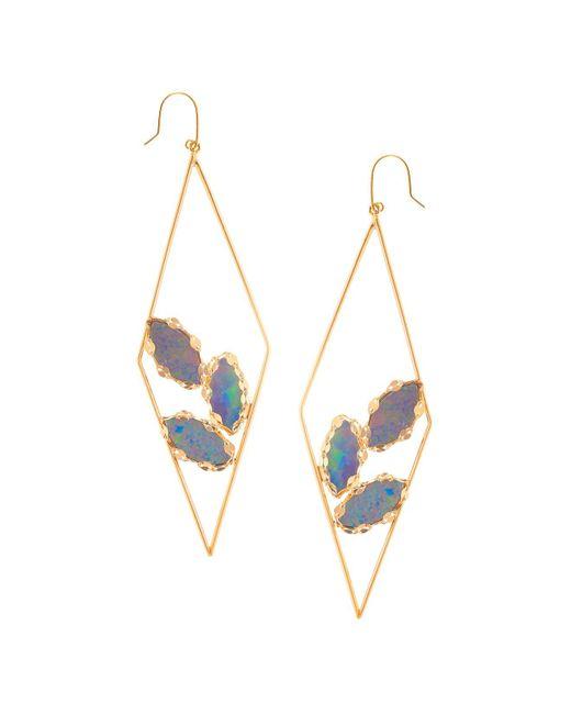 Lana Jewelry   Metallic 14k Yellow Gold Geometric Opal Hoop Drop Earrings   Lyst