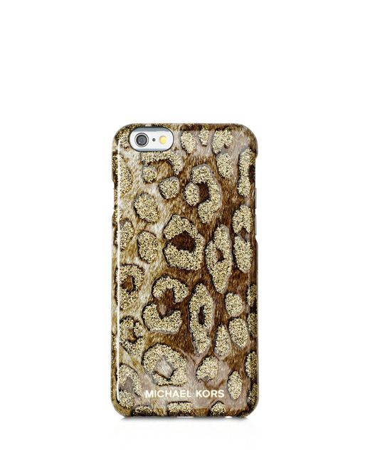 Michael michael kors leopard iphone 6 6s case in natural for Housse iphone 6 michael kors