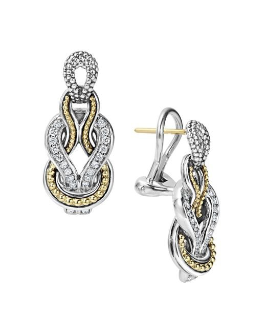 Lagos - Metallic Sterling Silver And 18k Gold Newport Diamond Earrings - Lyst