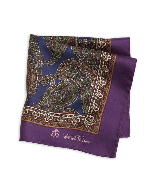 Brooks Brothers | Purple Paisley Pocket Square for Men | Lyst
