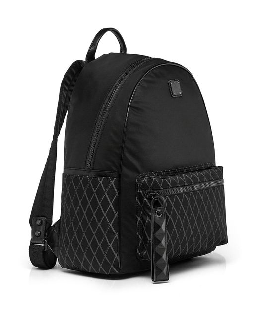 mcm tumbler nylon backpack in black for men