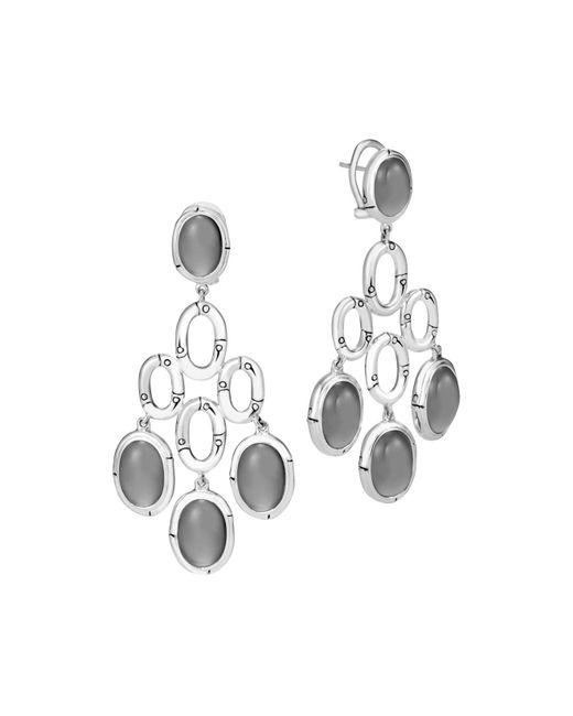 John Hardy | Metallic Sterling Silver Bamboo Chandelier Earrings With Grey Moonstone | Lyst