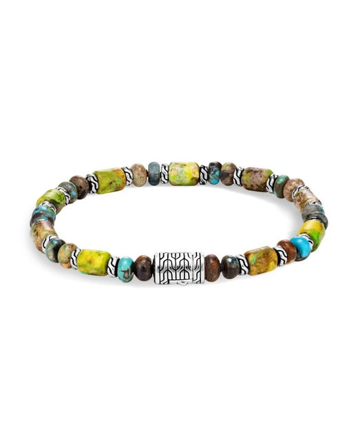 John Hardy   Metallic Sterling Silver Classic Chain Mixed Turquoise Bead Bracelet   Lyst