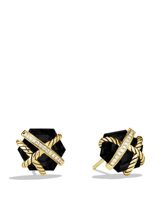 David Yurman - Yellow Cable Wrap Earrings With Black Onyx - Lyst