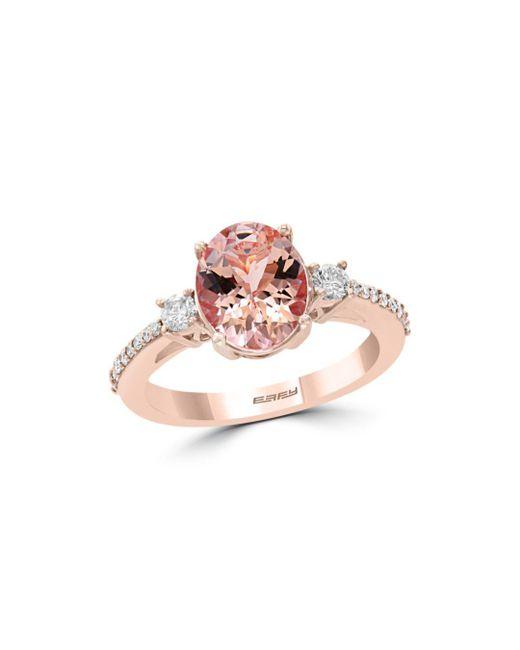 Bloomingdale's - Pink Morganite Oval & Diamond Statement Ring In 14k Rose Gold - Lyst