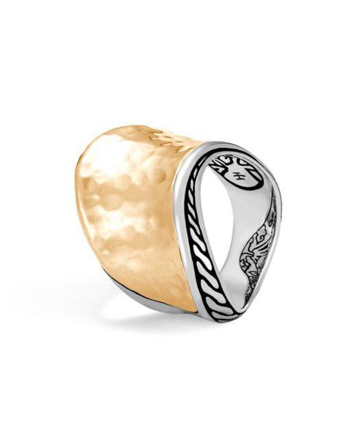 John Hardy - Metallic 18k Yellow Gold Classic Hammered Chain Wave Ring With Sterling Silver - Lyst