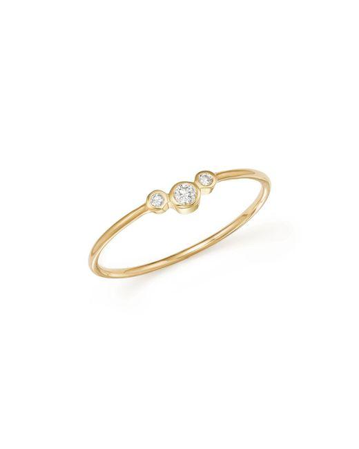 Zoe Chicco | Metallic 14k Yellow Gold Small Triple Graduated Diamond Curved Bezel Ring | Lyst