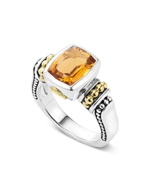 Lagos - Metallic 18k Gold And Sterling Silver Caviar Color Small Citrine Ring - Lyst