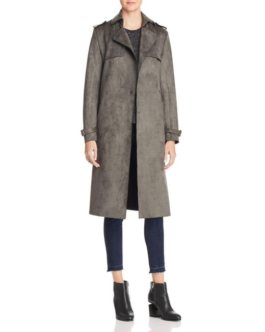 T Tahari - Green Faux Suede Trench Coat - Lyst